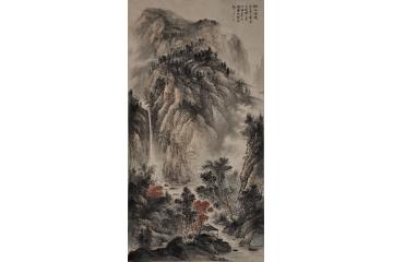 王玉东六尺竖幅山水画作品《溪山清镜》图片
