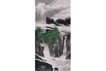张朝彬四尺竖幅山水画作品《峡江春韵》图片