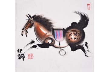 纪端小尺寸动物画作品十二生肖之《马》