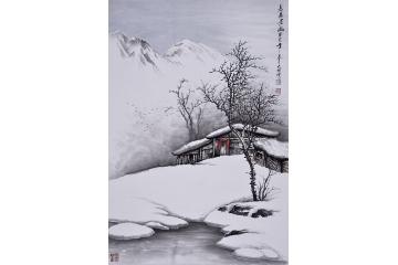 吴大恺三尺竖幅山水画作品《志广居幽》图片