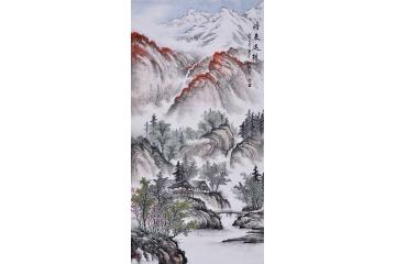 吴大恺四尺竖幅山水画作品《时来运转》图片