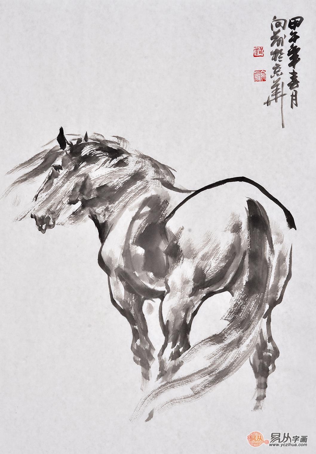 路向前四尺三开动物画作品《黑马》