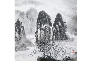 仇谷小尺寸山水画作品《山水系列之三十四》
