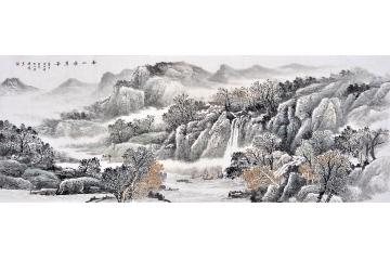 李国胜六尺横幅山水画作品《南山积翠图》
