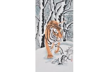 富飞三尺竖幅动物画作品虎《王者归来》