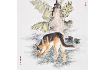 富飞四尺斗方动物画作品十二生肖系列《狗》