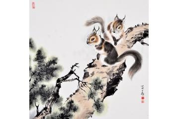 富飞四尺斗方动物画作品十二生肖系列《双鼠》