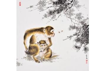 富飞四尺斗方动物画作品十二生肖系列猴子《呵护》