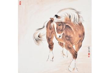 富飞四尺斗方动物画作品十二生肖系列《马》