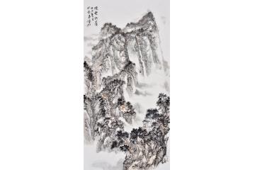 石宾虹四尺竖幅山水画作品《烟云供养》图片