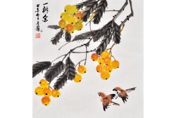 枇杷图 张金凤写意花鸟画作品《一树金》