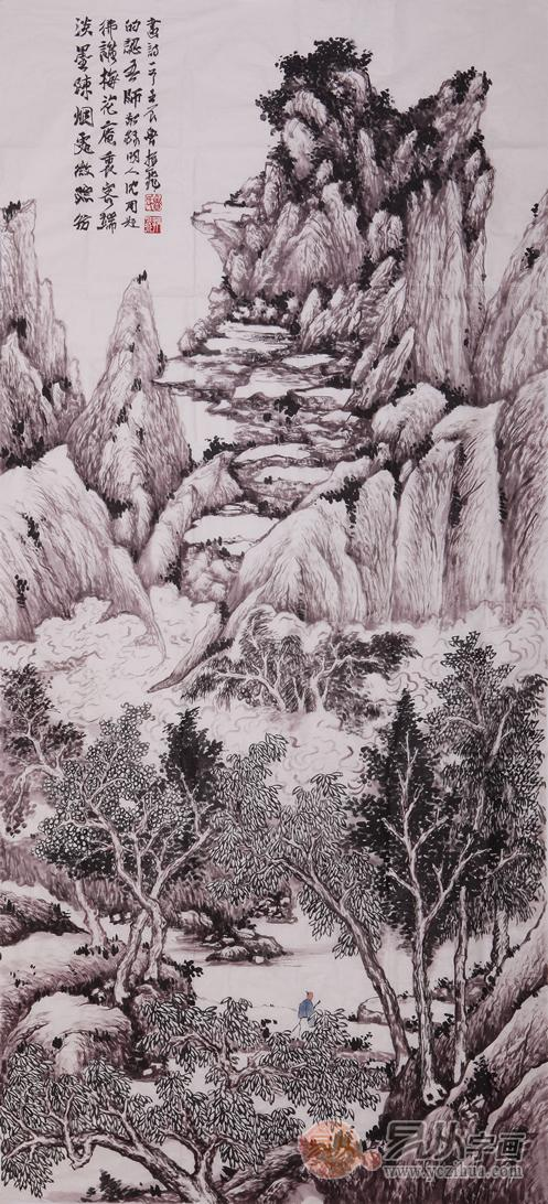 竖幅山水国画高清大图-当代擅长工笔山水画的青年艺术家有哪些