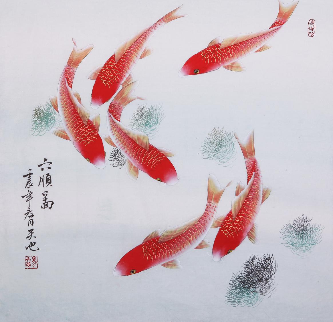 """亦可寓意女孩的美好未来,富贵人生 此幅作品以""""鲤鱼""""为题材,用工笔"""