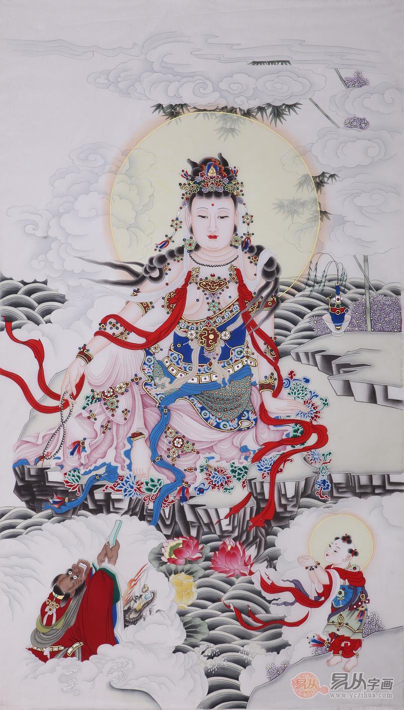 三尺竖幅绢本道释画作品 绢本道释系列之一