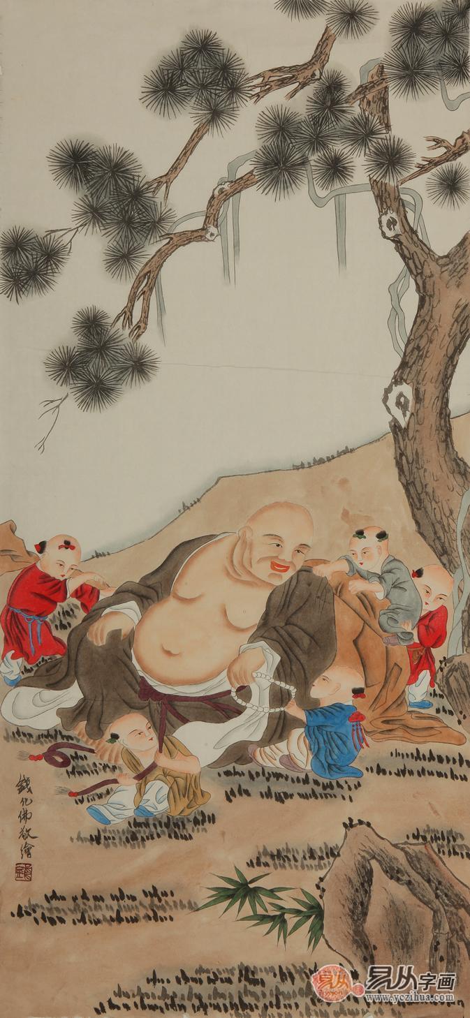尺竖幅道释画《大肚弥勒佛》-精致国画人物传递别样收藏潜力