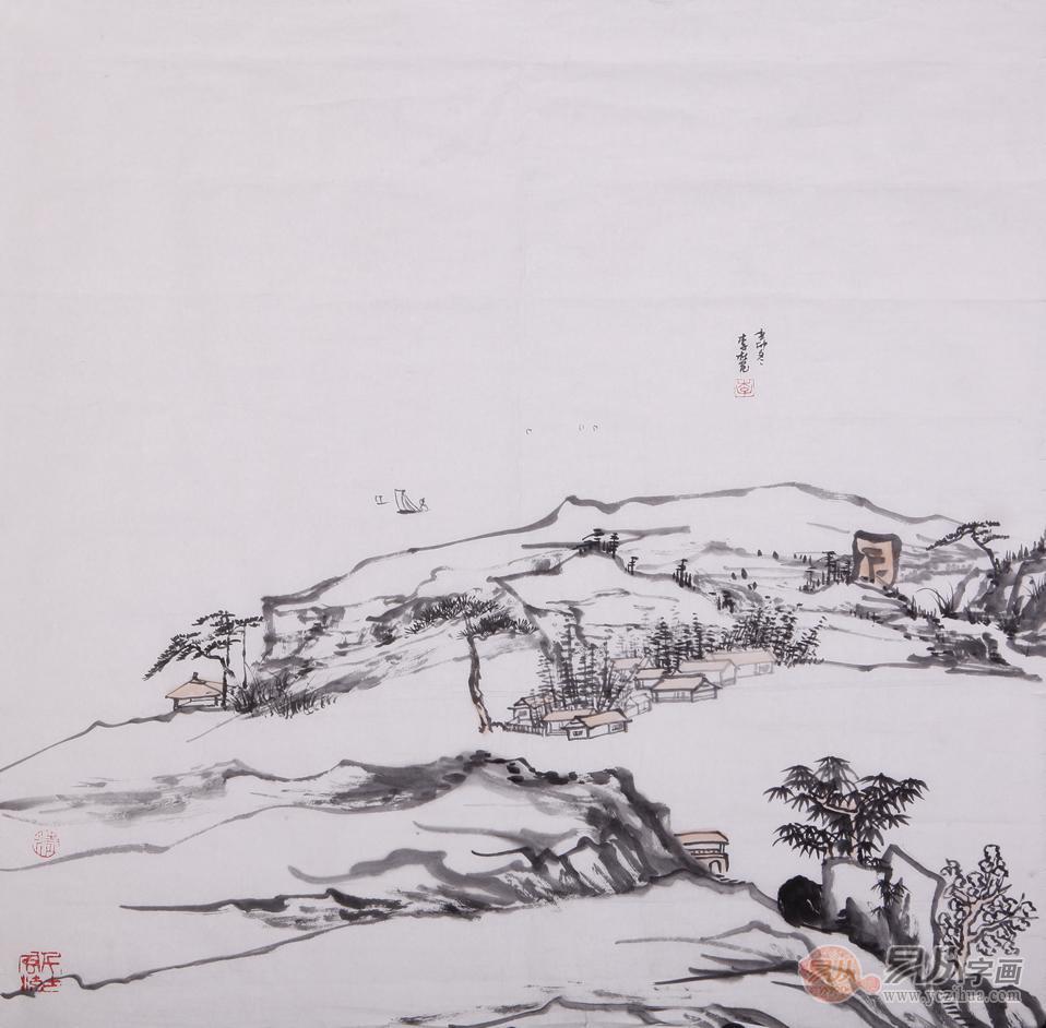 李杜四尺斗方山水画作品《辛卯冬》-客厅走廊挂什么样的装饰画最合适图片