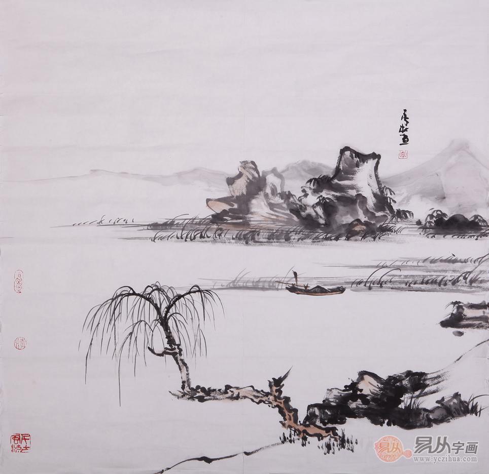 李杜四尺斗方山水画作品《行舟》图片