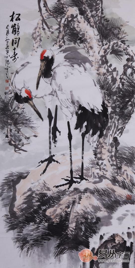 《松鹤同寿》描绘了在松树上乘凉的两只仙鹤瞬间在树