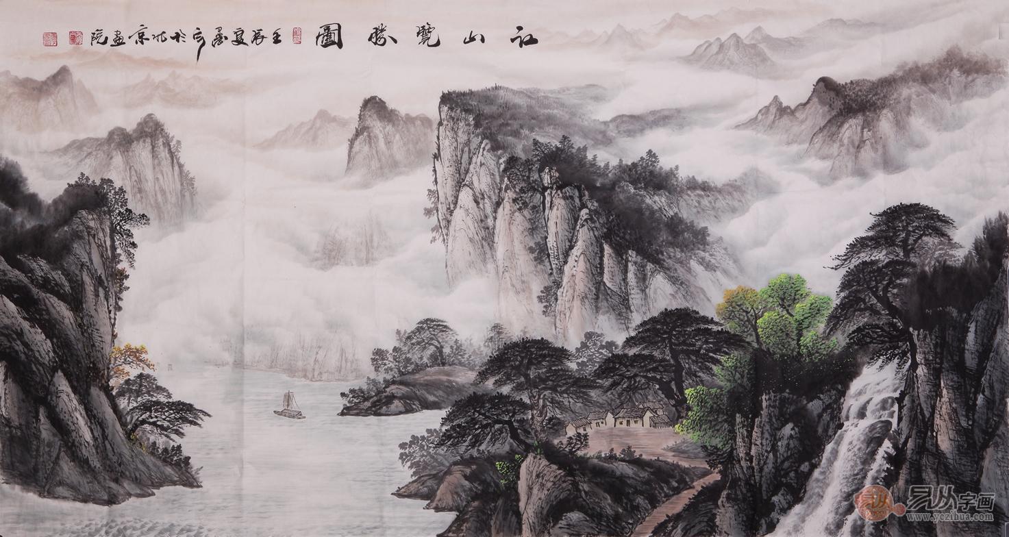 鲍传义六尺横幅山水作品《江山览胜图》