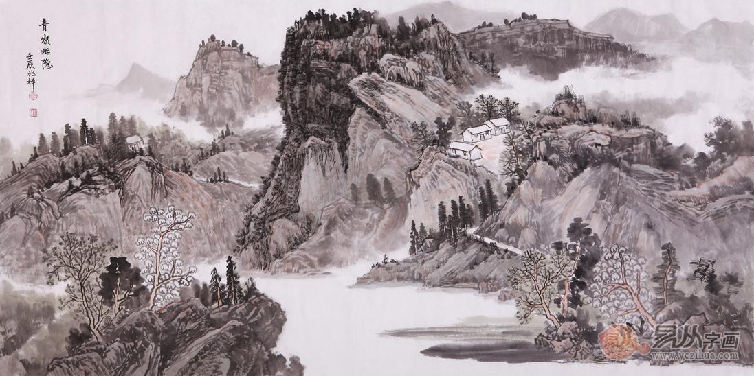 中國工筆畫學會會員沈兆祥山水畫欣賞