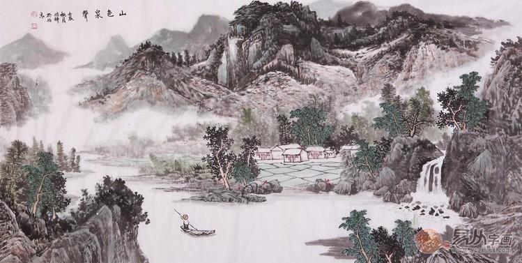 人气山水画字画; 沈兆祥四尺横幅山水画作品《山色泉声》_山水画-易从