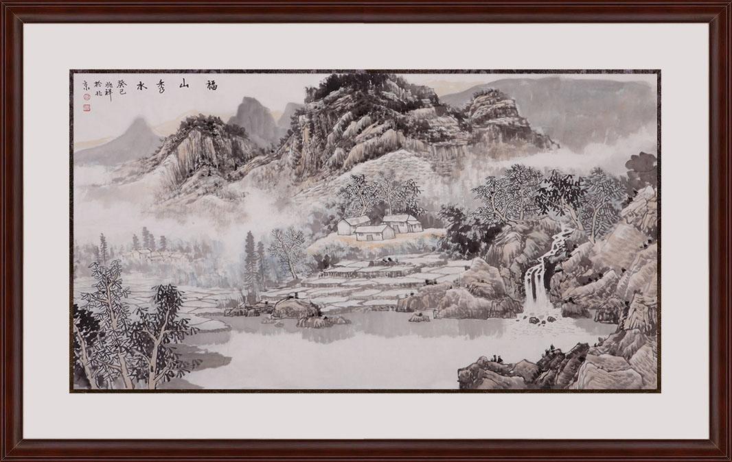 沈兆祥四尺横幅山水画作品《福山秀水》作品来源:易从山水画