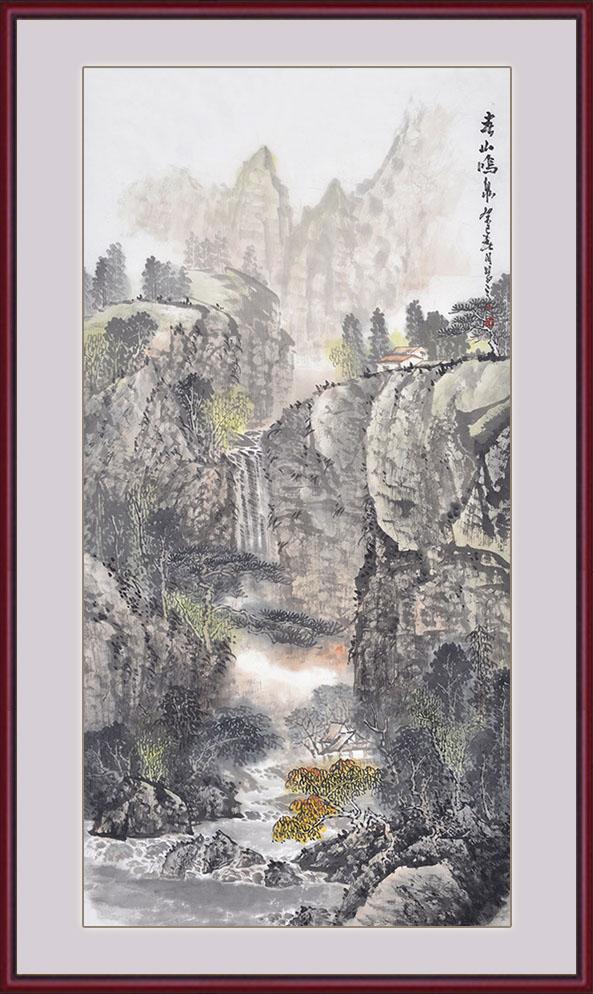 李新华四尺竖幅山水画作品《春山鸣泉》作品来源:易从山水画图片