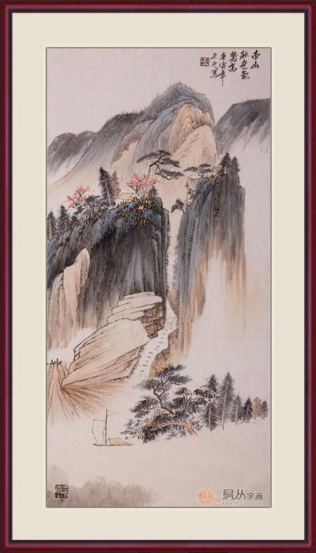 易天也三尺竖幅山水画作品《南山秋色气势高》作品来源:易从山水画