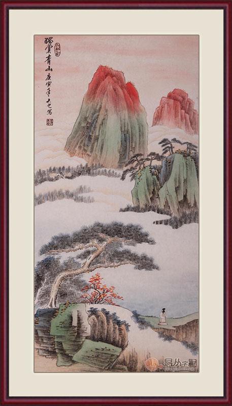 易天也三尺竖幅山水画作品《独赏青山》作品来源:易从山水画-适合