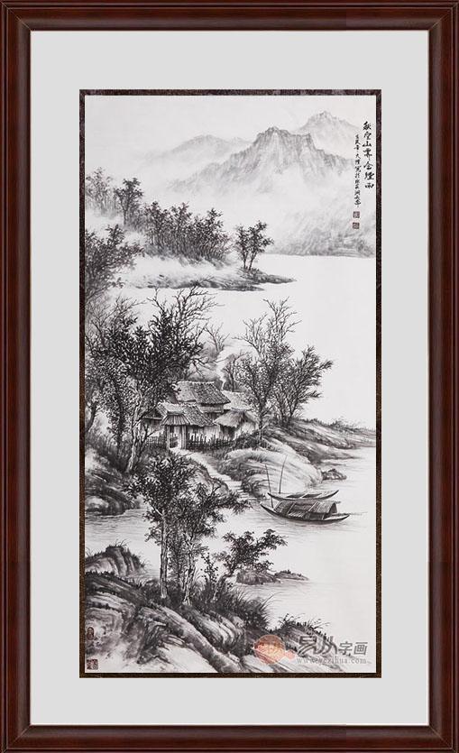 吴大恺四尺竖幅山水画作品《秋空山霁含烟雨》作品来源:易从山水画图片