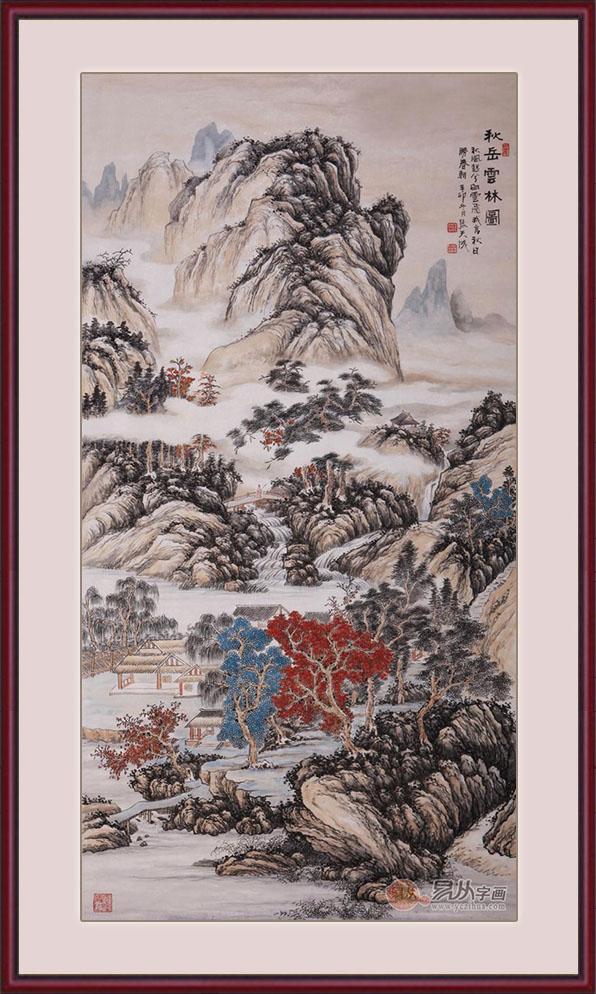 笔墨之间享受山水之乐       张天成六尺竖幅山水画作品《秋岳云林图图片