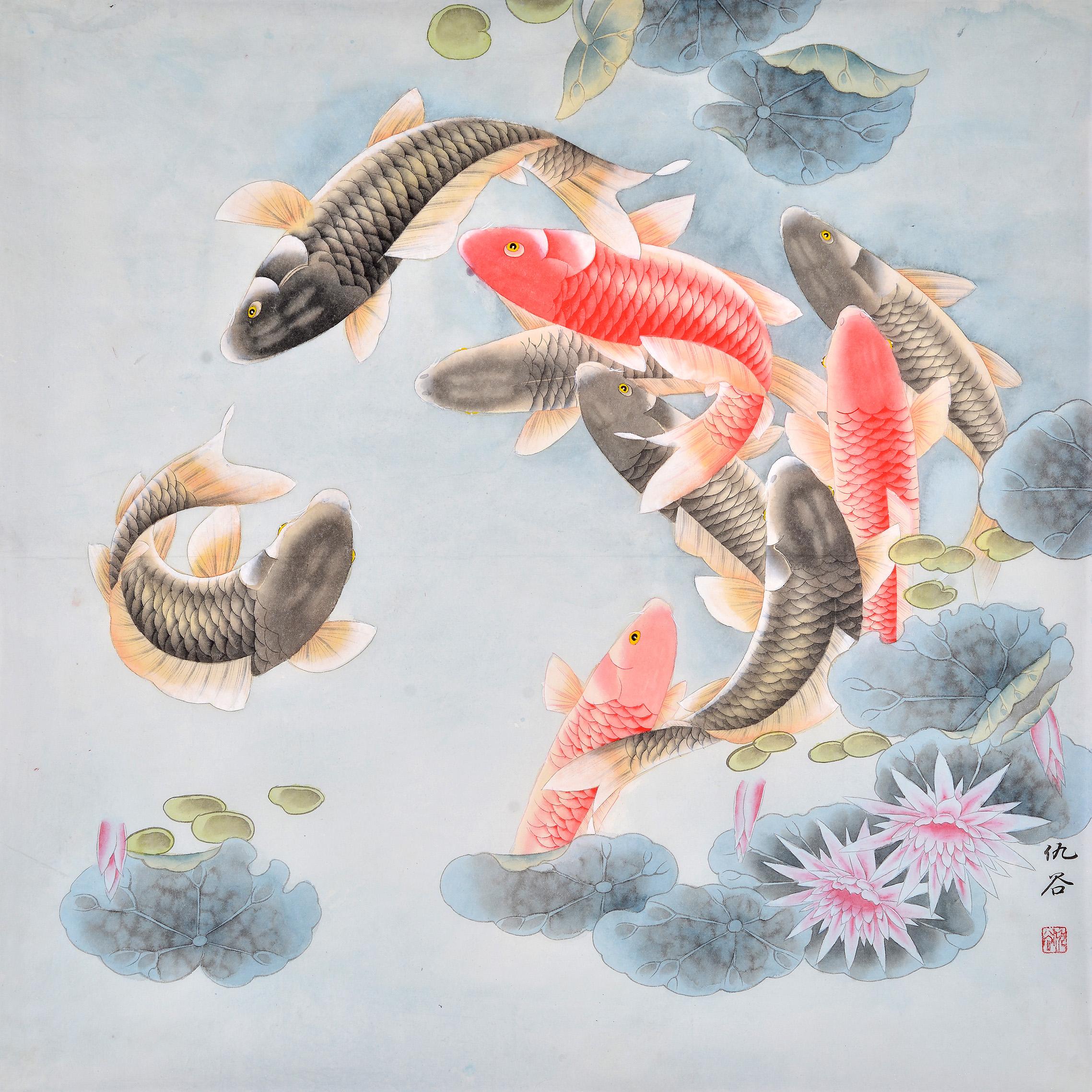 荷花字画:也是莲花,寓意和气