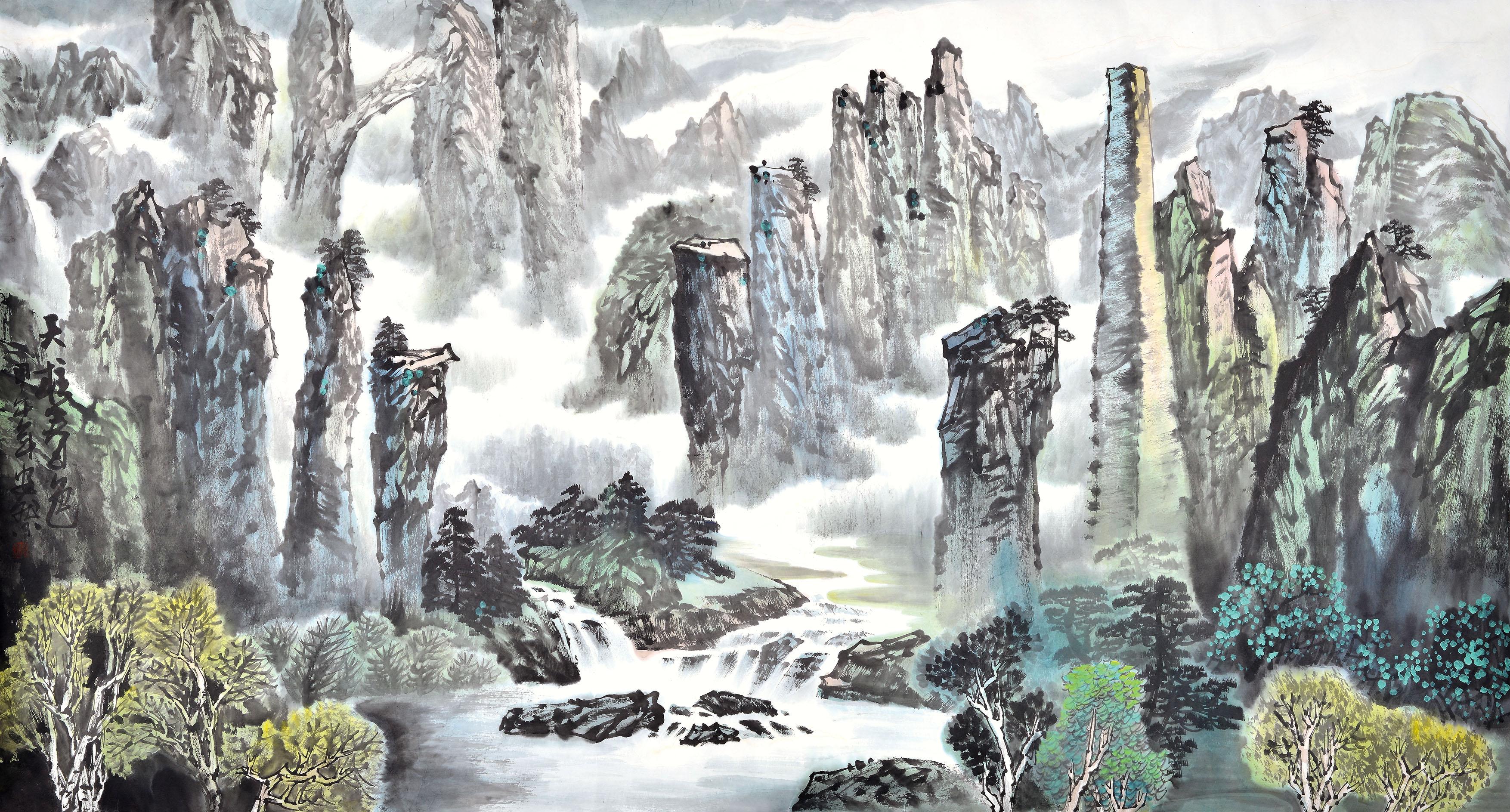 能调节客厅风水的山水画作品欣赏