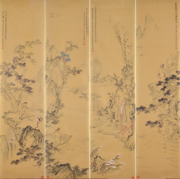 刘雅君大写意花鸟画--金箔纸山水四条屏