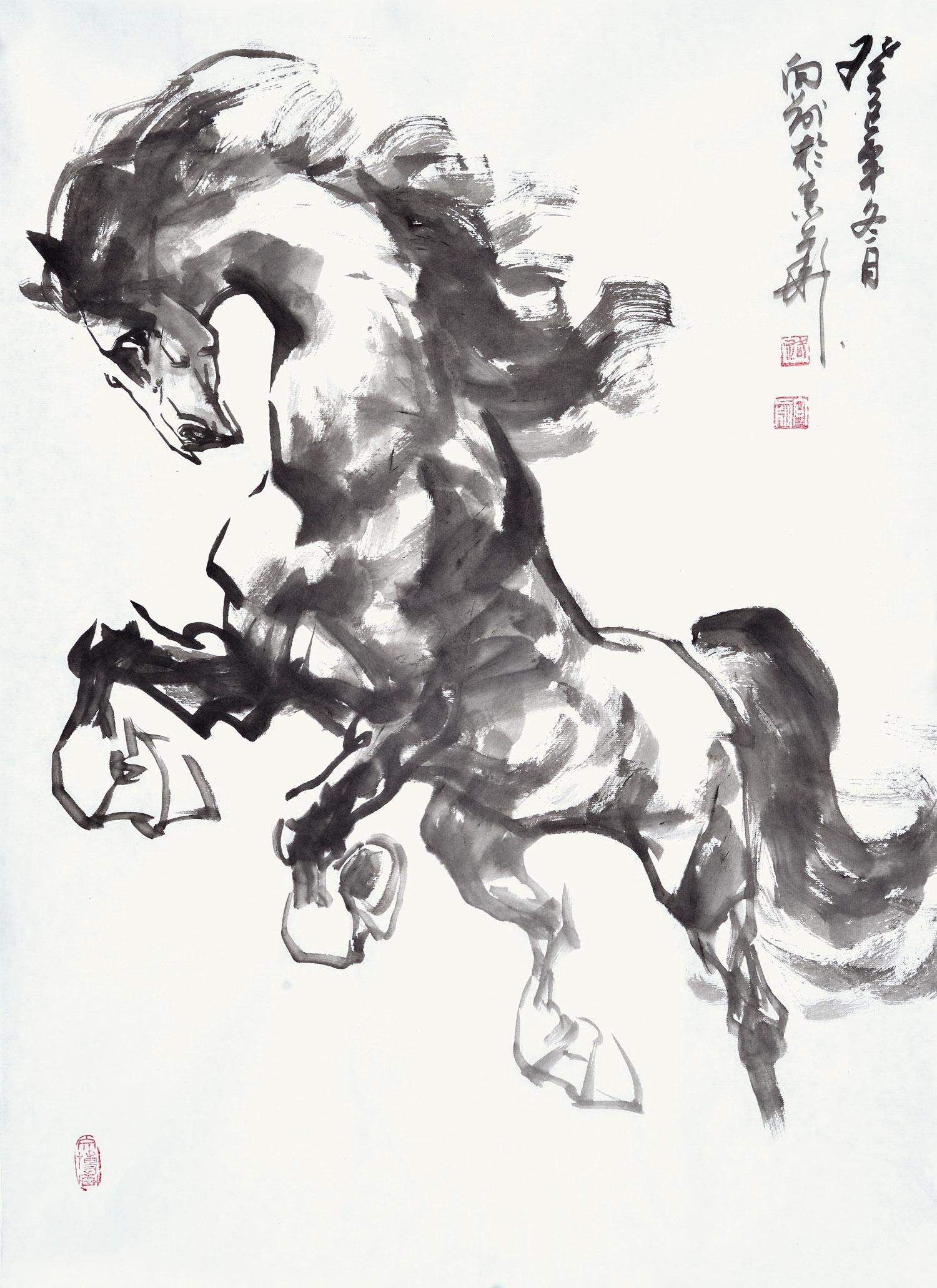 路向前老师现为北京美协会员,其绘画风格细腻、艳丽、富有神韵,极具欣赏价值。路向前老师擅长写意动物画、工笔画花鸟画。路向前老师曾多次参加全国美展及各种画展并获奖。作品曾多在多家报刊发表被国内外多家画廊和个人收藏。以下是易从网推荐的几幅路向前老师创作的写意动物画,供大家欣赏: 一、路向前四尺斗方动物画马作品《纵横天地间》  路向前四尺斗方动物画马作品《纵横天地间》 这是路向前老师创作的一幅写意动物画《纵横天地间》。一匹姿态矫健的骏马,正在奔腾跳跃、腾空而起、四蹄生烟。作品展现了马匹的筋骨强壮,肌肉发达,倜傥洒