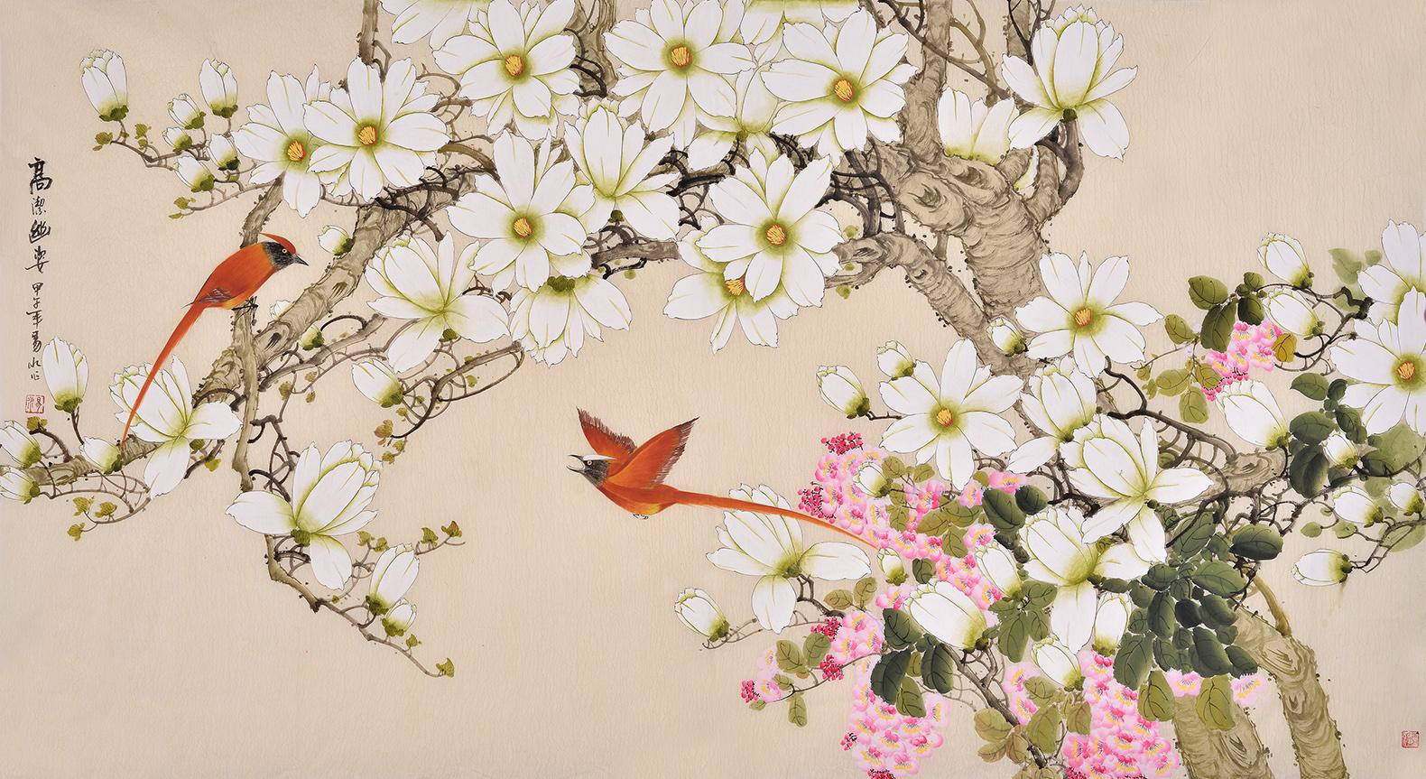 易水工笔花鸟画作品欣赏-易从字画商城