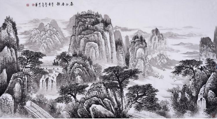 王立全八尺横幅山水画《泰山春韵》图片