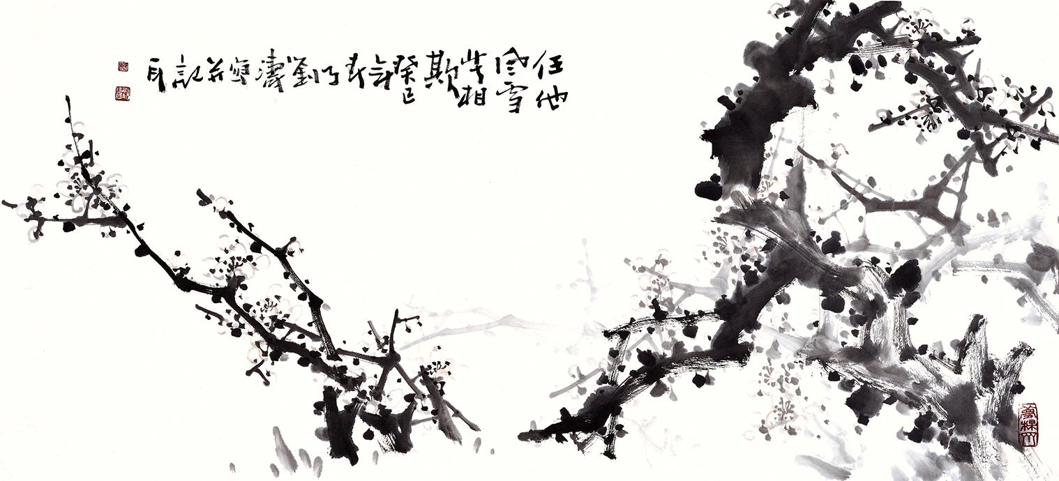 刘海军三尺横幅花鸟画梅花 任他风雪苦相欺 作品赏析