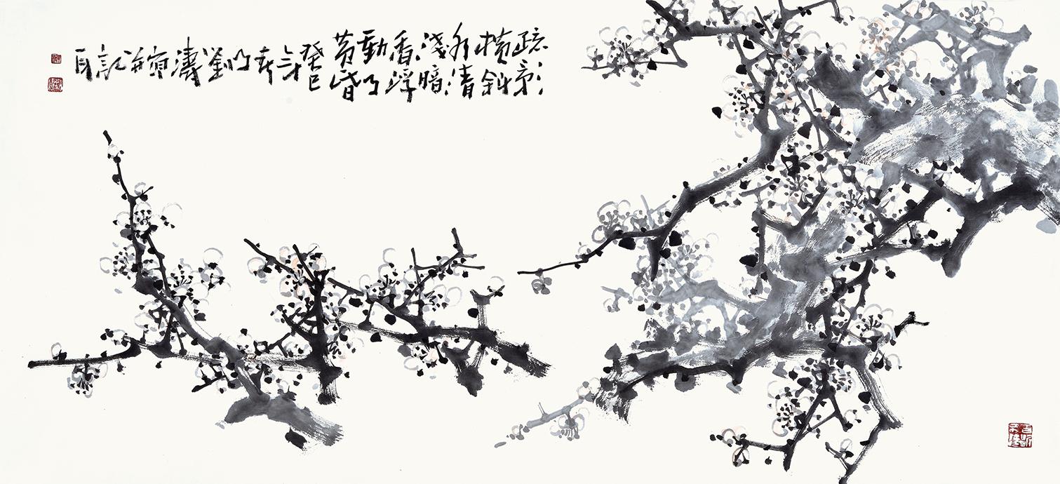 刘海军三尺横幅花鸟画梅花 暗香疏影