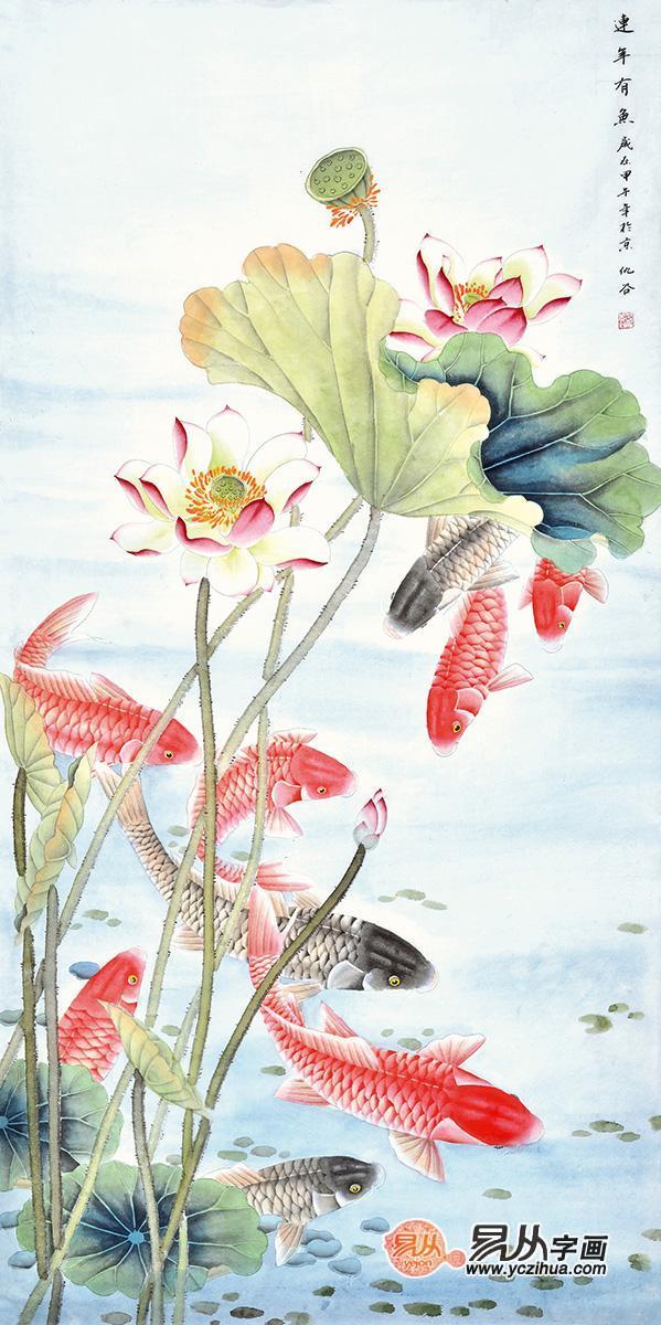 幅花鸟画适合挂在客厅西面或者东面的墙上,一方面为家庭主人招财进宝