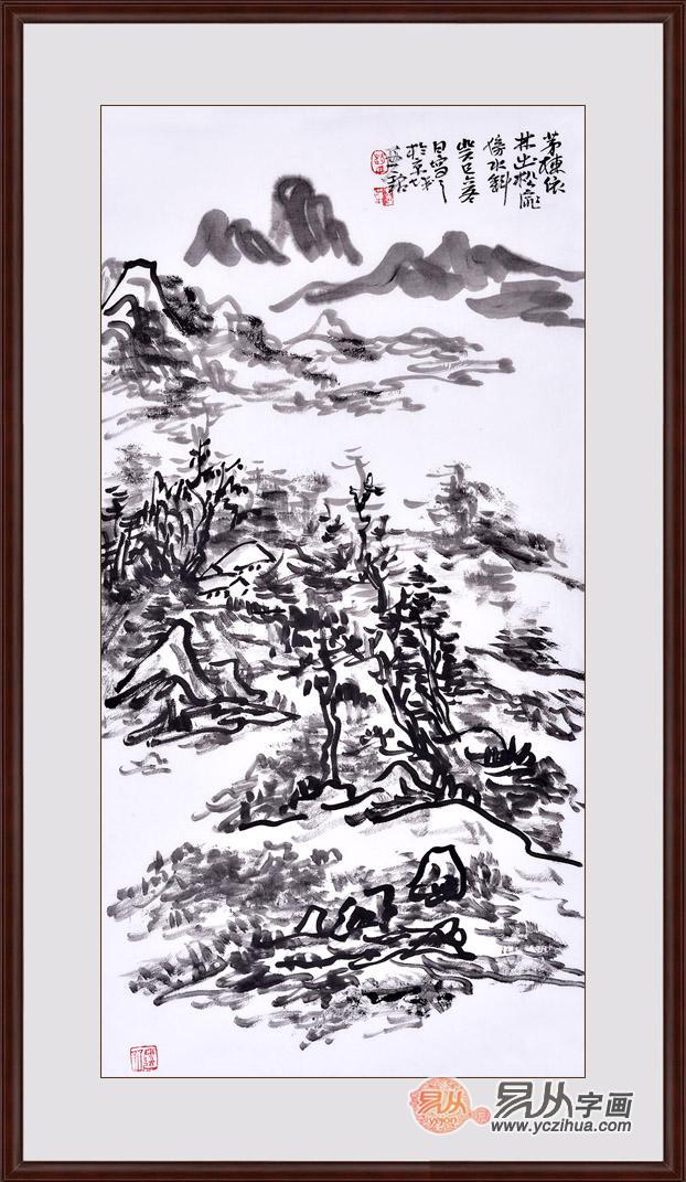 赵亚铭三尺竖幅山水画作品《焦墨山水之二》作品来源:易从山水画-