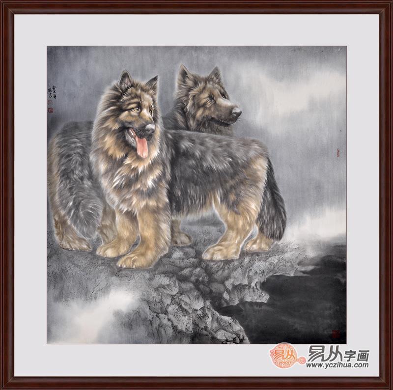 张国良八尺斗方动物画作品狗《好友》