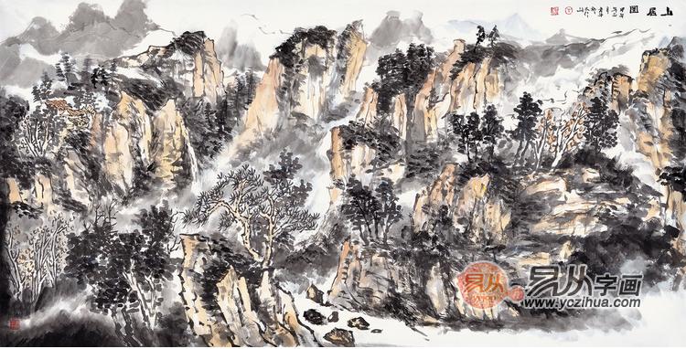 2.安然四尺斗方山水画作品《山居图》-家居装饰画需要注意哪些风水问图片
