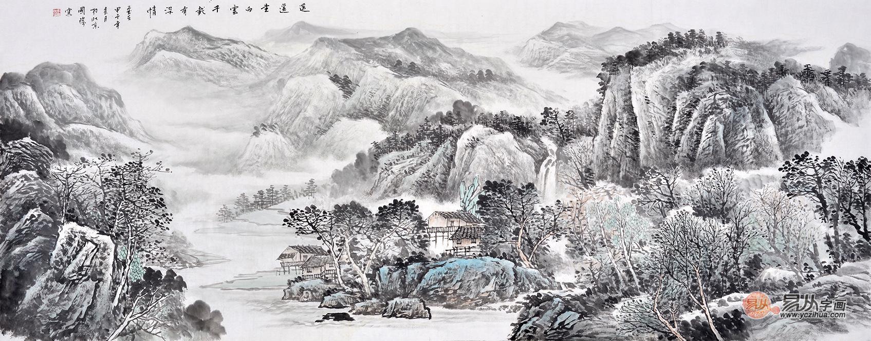 李国胜六尺横幅山水画作品《遥遥望白云》