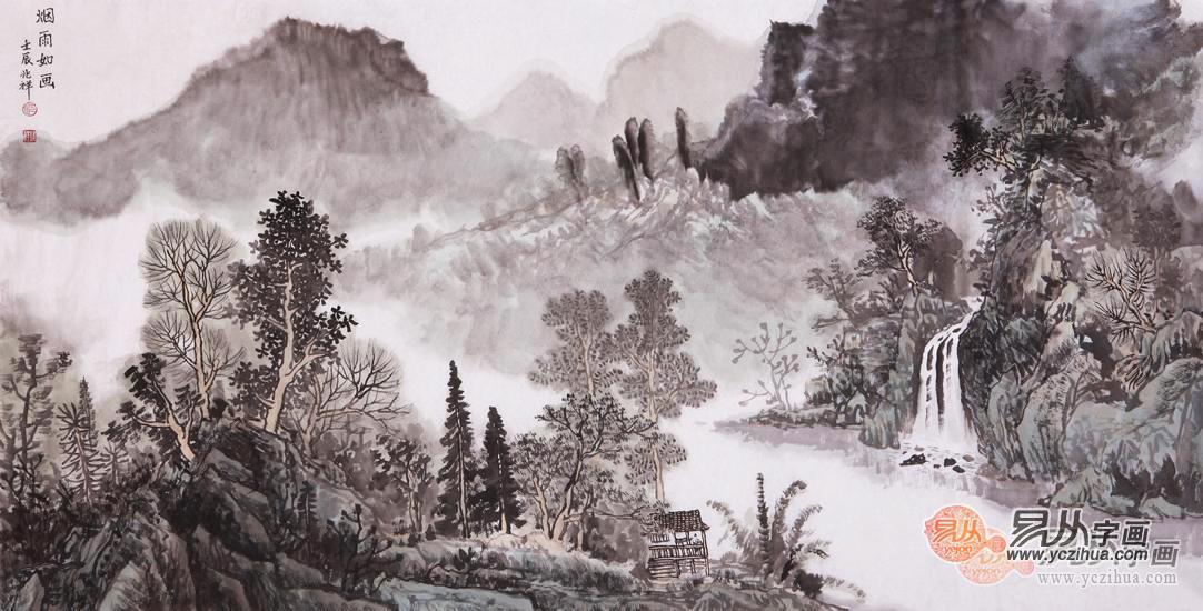 沈兆祥四尺横幅山水画作品《烟雨如画》