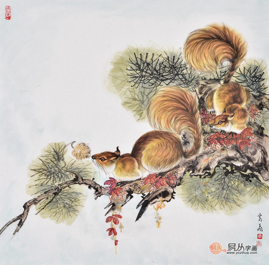 富飞老师,现在带大家欣赏老师的国画松鼠作品.