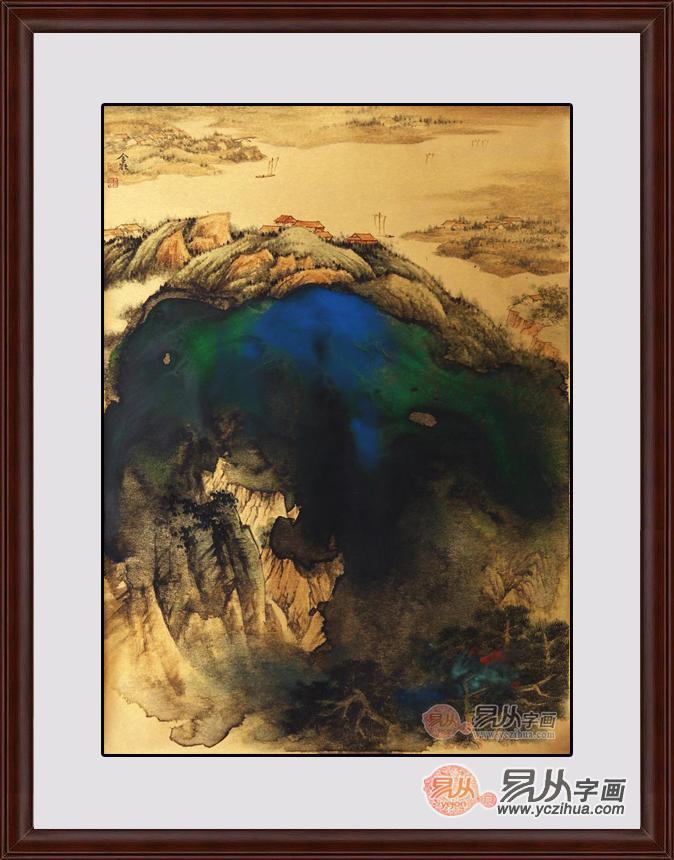 《金笺山水画系列之八》作品来源:易从山水画图片