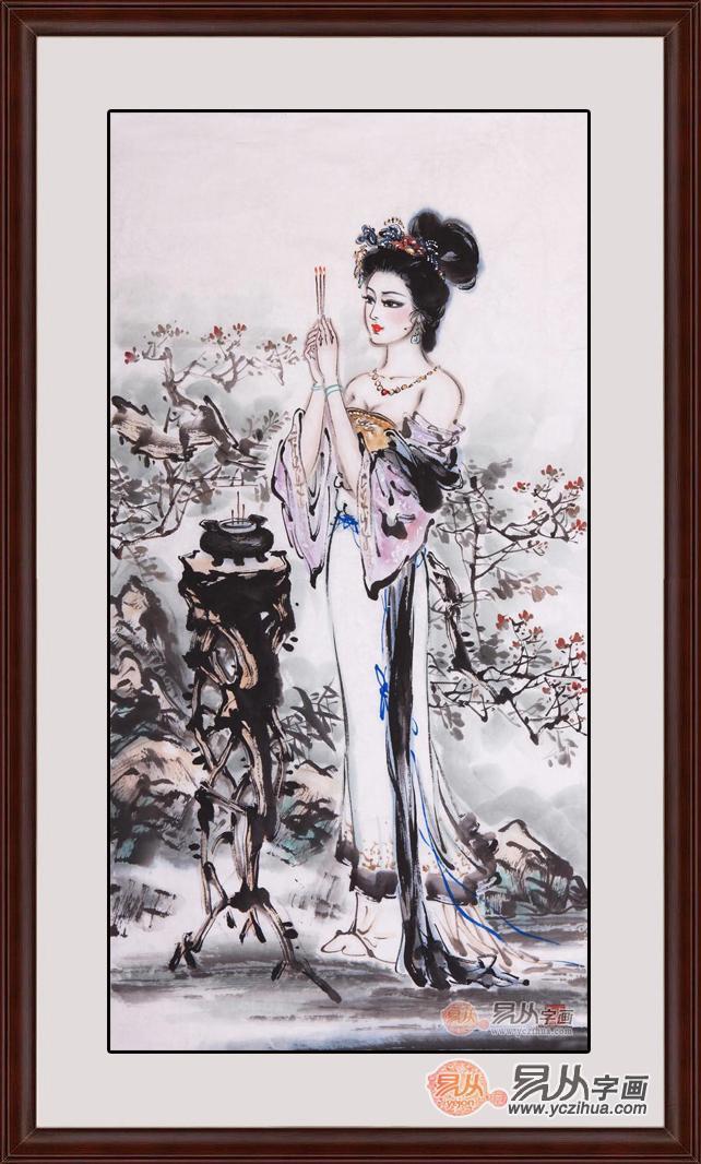 名人国画明星的妈妈-此幅作品题名为貂蝉拜月,貂蝉为中国四大美女之一,有闭月一说   作图片