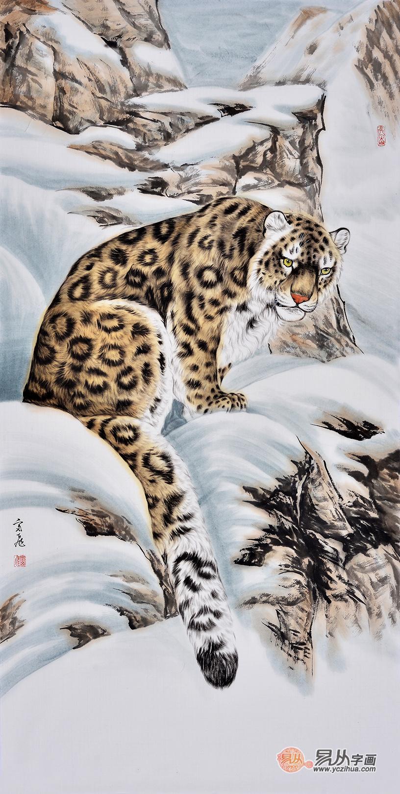 富飞四尺斗方动物画作品十二生肖