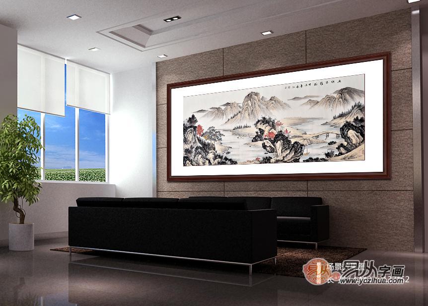 客厅沙发背景墙效果图-客厅挂山水画